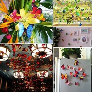 Foonii® 72 PCS 3D Schmetterlinge Wanddeko Aufkleber Abziehbilder,schlagfestem Kunststoff Schmetterling Dekorationen, Wand-Dekor (12 Blau, 12 Farbe, 12 Grün, 12 Gelb, 12 Rosa, 12 Rot) - 8