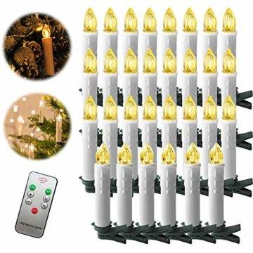 Froadp 30 Stück Dimmbare LED Mini Weihnachtskerzen mit Fernbedienung Kabellos Christbaumkerzen für Weihnachtsbaum deko Geburtstagsdeko Kerzen Satz(Warmweiß) - 1