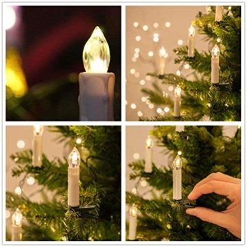 Froadp 30 Stück Dimmbare LED Mini Weihnachtskerzen mit Fernbedienung Kabellos Christbaumkerzen für Weihnachtsbaum deko Geburtstagsdeko Kerzen Satz(Warmweiß) - 6