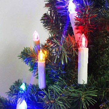 Froadp LED Kerzen Weihnachtskerzen Kabellos 30 Stück mit Fernbedienung, Timer und Batterien - Bunt RGB + Warmweiß 2 Modi Weihnachtsbaum Lichterkette Weihnachtsdeko Mini Christbaumkerzen - 5