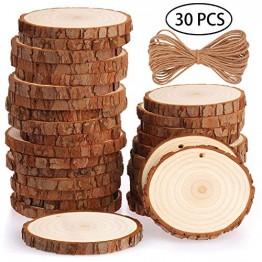 """Fuyit Holzscheiben 30 Stücke Holz Log Scheiben 7-8cm mit Loch Unvollendete Holzkreise für DIY Handwerk Holz-Scheiben Hochzeit Mittelstücke Weihnachten Dekoration Baumscheibe(30st 2.8""""-3.1"""") - 1"""