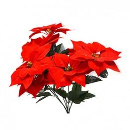 Garneck roter weihnachtsstern weihnachtsschmuck 7-stieliger künstlicher weihnachtsstern für weihnachtsbaum blumenschmuck - 1