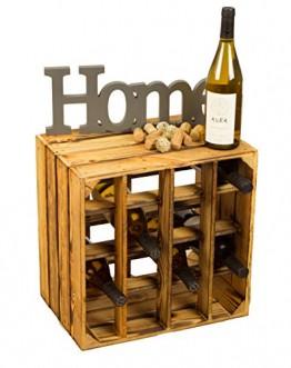 Geflammtes Weinregal für bis zu 16 Flaschen 40x40x27 cm Kistenkolli Altes Land Wein Regal | Flaschenregal - 1
