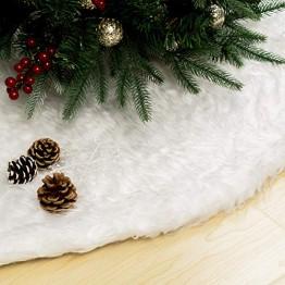GIGALUMI 120cm Weihnachtsbaumdecke Weiß Plüsch Christmasbaumdecke Rund Tannenbaum-Unterlage Weihnachtsbaumteppich Ornamente Dekoration für Weihnachten - 1