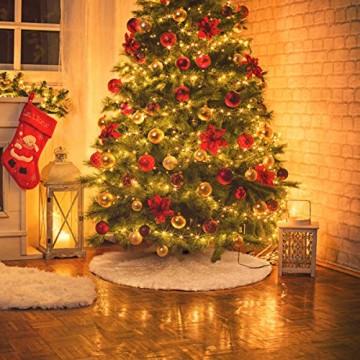GIGALUMI 120cm Weihnachtsbaumdecke Weiß Plüsch Christmasbaumdecke Rund Tannenbaum-Unterlage Weihnachtsbaumteppich Ornamente Dekoration für Weihnachten - 4