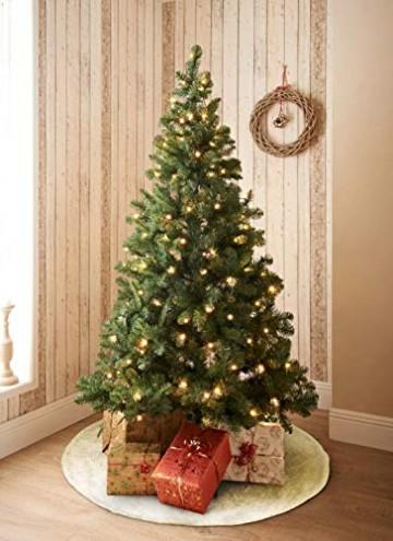 GIGALUMI 120cm Weihnachtsbaumdecke Weiß Plüsch Christmasbaumdecke Rund Tannenbaum-Unterlage Weihnachtsbaumteppich Ornamente Dekoration für Weihnachten - 5