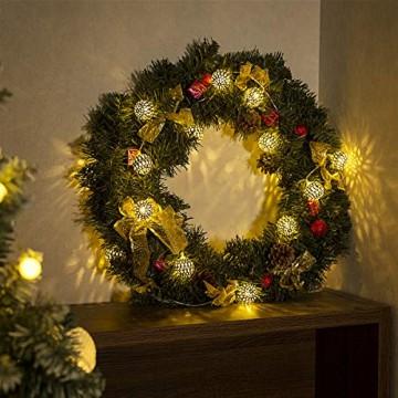 GIGALUMI LED Kugel Lichterkette 20 Silber Metall Kugel 2,5m Lange Warmweiß Batteriebetrieben Innen Beleuchtung Dekoration für Party, Weihnachten, Halloween, Zimmer usw. - 2