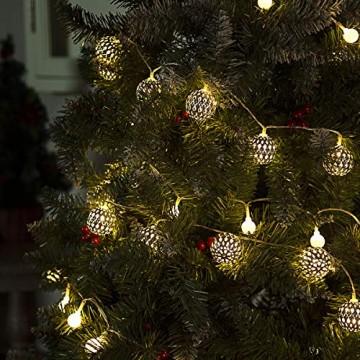 GIGALUMI LED Kugel Lichterkette 20 Silber Metall Kugel 2,5m Lange Warmweiß Batteriebetrieben Innen Beleuchtung Dekoration für Party, Weihnachten, Halloween, Zimmer usw. - 3