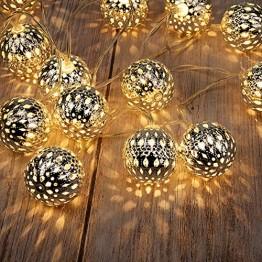GIGALUMI LED Kugel Lichterkette 20 Silber Metall Kugel 2,5m Lange Warmweiß Batteriebetrieben Innen Beleuchtung Dekoration für Party, Weihnachten, Halloween, Zimmer usw. - 1