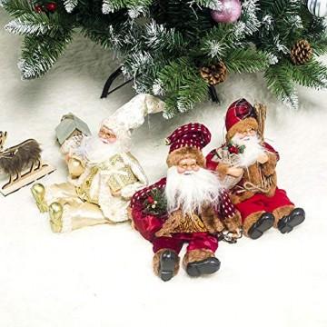 globalqi 13 Zoll Weihnachtsmann sitzende Figur, Weihnachten Noel Santa Puppe Ornament angenehmes Geschenk Urlaub Sammlung Puppe Spielzeug Tisch Weihnachtsbaum Dekor Festival vorhanden - 2