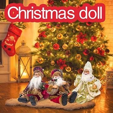 globalqi 13 Zoll Weihnachtsmann sitzende Figur, Weihnachten Noel Santa Puppe Ornament angenehmes Geschenk Urlaub Sammlung Puppe Spielzeug Tisch Weihnachtsbaum Dekor Festival vorhanden - 3