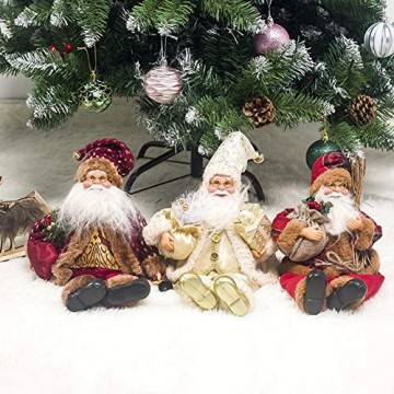 globalqi 13 Zoll Weihnachtsmann sitzende Figur, Weihnachten Noel Santa Puppe Ornament angenehmes Geschenk Urlaub Sammlung Puppe Spielzeug Tisch Weihnachtsbaum Dekor Festival vorhanden - 4