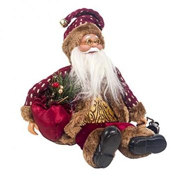 globalqi 13 Zoll Weihnachtsmann sitzende Figur, Weihnachten Noel Santa Puppe Ornament angenehmes Geschenk Urlaub Sammlung Puppe Spielzeug Tisch Weihnachtsbaum Dekor Festival vorhanden - 1