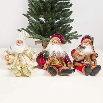 globalqi 13 Zoll Weihnachtsmann sitzende Figur, Weihnachten Noel Santa Puppe Ornament angenehmes Geschenk Urlaub Sammlung Puppe Spielzeug Tisch Weihnachtsbaum Dekor Festival vorhanden - 5