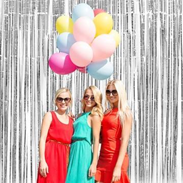 GoMaihe 2 Stück Lametta Vorhänge, Folie Fransen Vorhang Schimmer, Metallic Tinsel Vorhänge, Hintergrund Fringe Glitzervorhänge für Party Hochzeit Geburtstags Fotobooth Türvorhang Deko, MEHRWEG - 3