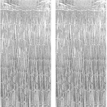 GoMaihe 2 Stück Lametta Vorhänge, Folie Fransen Vorhang Schimmer, Metallic Tinsel Vorhänge, Hintergrund Fringe Glitzervorhänge für Party Hochzeit Geburtstags Fotobooth Türvorhang Deko, MEHRWEG - 1