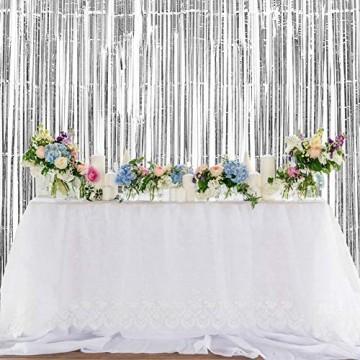 GoMaihe 2 Stück Lametta Vorhänge, Folie Fransen Vorhang Schimmer, Metallic Tinsel Vorhänge, Hintergrund Fringe Glitzervorhänge für Party Hochzeit Geburtstags Fotobooth Türvorhang Deko, MEHRWEG - 7