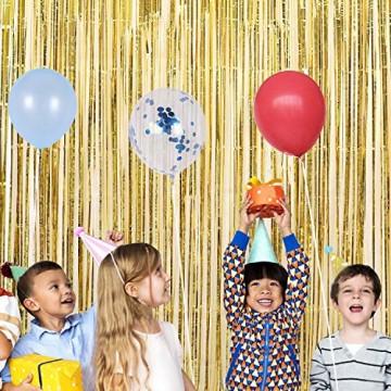 GoMaihe 6 Stück Lametta Vorhänge, Folie Fransen Vorhang Schimmer, Metallic Tinsel Vorhänge, Hintergrund Fringe Glitzervorhänge für Party Hochzeit Geburtstags Fotobooth Türvorhang Deko, MEHRWEG - 3