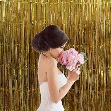 GoMaihe 6 Stück Lametta Vorhänge, Folie Fransen Vorhang Schimmer, Metallic Tinsel Vorhänge, Hintergrund Fringe Glitzervorhänge für Party Hochzeit Geburtstags Fotobooth Türvorhang Deko, MEHRWEG - 7
