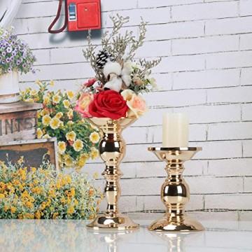 GoMaihe Retro Kerzenhalter 2 Set in Unterschiedlicher Größe, 22/15.5cm Antik Kerzenständer Eisen Deko Kerzenleuchter für Stumpenkerzen, Kerzen Ständer Tischdeko Hochzeit Weihnachten Geburtstag - 4