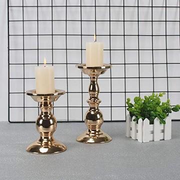 GoMaihe Retro Kerzenhalter 2 Set in Unterschiedlicher Größe, 22/15.5cm Antik Kerzenständer Eisen Deko Kerzenleuchter für Stumpenkerzen, Kerzen Ständer Tischdeko Hochzeit Weihnachten Geburtstag - 1