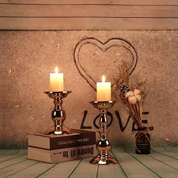 GoMaihe Retro Kerzenhalter 2 Set in Unterschiedlicher Größe, 22/15.5cm Antik Kerzenständer Eisen Deko Kerzenleuchter für Stumpenkerzen, Kerzen Ständer Tischdeko Hochzeit Weihnachten Geburtstag - 5
