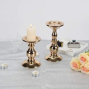 GoMaihe Retro Kerzenhalter 2 Set in Unterschiedlicher Größe, 22/15.5cm Antik Kerzenständer Eisen Deko Kerzenleuchter für Stumpenkerzen, Kerzen Ständer Tischdeko Hochzeit Weihnachten Geburtstag - 7