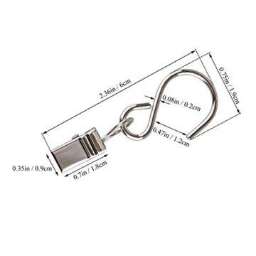 Gosse Aufhänger für Lichter, Coideal 40 Pack Party Licht Aufhänger Clips mit S-Haken zum Aufhängen, Vorhang Edelstahlclip/Metall Drahthalter für Seil Lichterketten, Outdoor-Aktivitäten (Silber) - 4