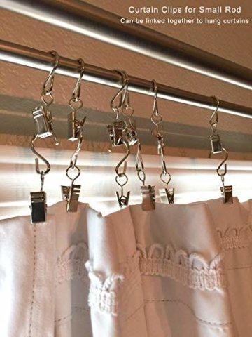 Gosse Aufhänger für Lichter, Coideal 40 Pack Party Licht Aufhänger Clips mit S-Haken zum Aufhängen, Vorhang Edelstahlclip/Metall Drahthalter für Seil Lichterketten, Outdoor-Aktivitäten (Silber) - 7