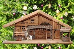 Große Weihnachtskrippe + Zubehör, 70-cm Ausführung: massiv Vollholz Massivholz, Krippe und Krippenstall - 1