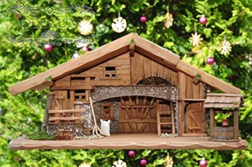 Große Weihnachtskrippe + Zubehör, 70-cm Ausführung: massiv Vollholz Massivholz, Krippe und Krippenstall - 8