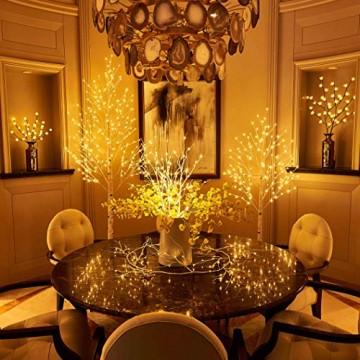 Hairui Vorbeleuchtete Birke 180CM 128L für die Heimdekoration Weißer Weihnachtsbaum mit LED-Leuchten Warmweiß Beleuchteter Kunstbaum mit Teilweise Funkelnder Funktion Ausgang 24V Sicherheitsspannung - 2