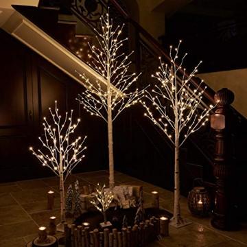Hairui Vorbeleuchtete Birke 180CM 128L für die Heimdekoration Weißer Weihnachtsbaum mit LED-Leuchten Warmweiß Beleuchteter Kunstbaum mit Teilweise Funkelnder Funktion Ausgang 24V Sicherheitsspannung - 4