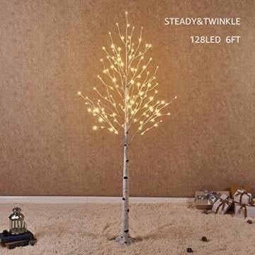 Hairui Vorbeleuchtete Birke 180CM 128L für die Heimdekoration Weißer Weihnachtsbaum mit LED-Leuchten Warmweiß Beleuchteter Kunstbaum mit Teilweise Funkelnder Funktion Ausgang 24V Sicherheitsspannung - 1