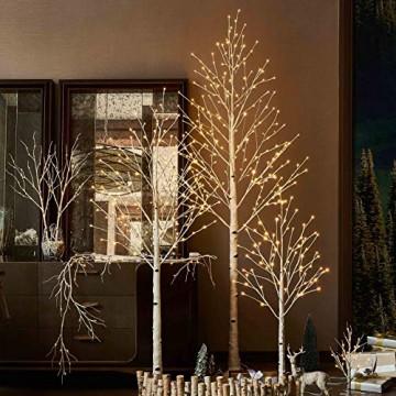 Hairui Vorbeleuchtete Birke 180CM 128L für die Heimdekoration Weißer Weihnachtsbaum mit LED-Leuchten Warmweiß Beleuchteter Kunstbaum mit Teilweise Funkelnder Funktion Ausgang 24V Sicherheitsspannung - 5