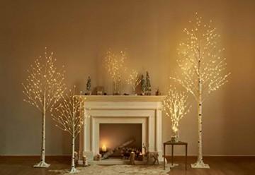 Hairui Vorbeleuchtete Birke 180CM 128L für die Heimdekoration Weißer Weihnachtsbaum mit LED-Leuchten Warmweiß Beleuchteter Kunstbaum mit Teilweise Funkelnder Funktion Ausgang 24V Sicherheitsspannung - 6