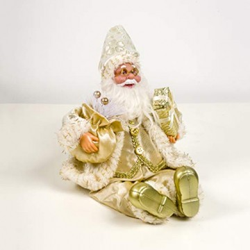 Happyyami Weihnachtsmann-Puppe-Weihnachten Ornament Dekoration Weihnachten Tisch Weihnachtsmann-Figur sitzt (golden) - 3