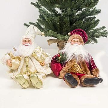 Happyyami Weihnachtsmann-Puppe-Weihnachten Ornament Dekoration Weihnachten Tisch Weihnachtsmann-Figur sitzt (golden) - 5