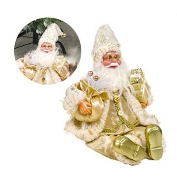 Happyyami Weihnachtsmann-Puppe-Weihnachten Ornament Dekoration Weihnachten Tisch Weihnachtsmann-Figur sitzt (golden) - 6
