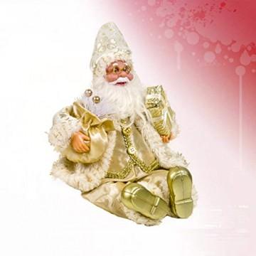 Happyyami Weihnachtsmann-Puppe-Weihnachten Ornament Dekoration Weihnachten Tisch Weihnachtsmann-Figur sitzt (golden) - 7