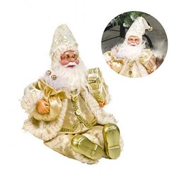 Happyyami Weihnachtsmann-Puppe-Weihnachten Ornament Dekoration Weihnachten Tisch Weihnachtsmann-Figur sitzt (golden) - 8