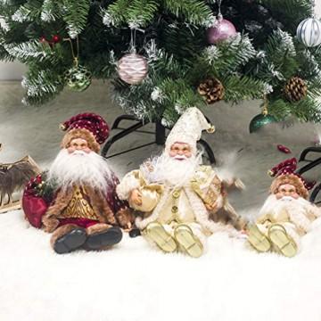 Happyyami Weihnachtsmann-Puppe-Weihnachten Ornament Dekoration Weihnachten Tisch Weihnachtsmann-Figur sitzt (golden) - 9