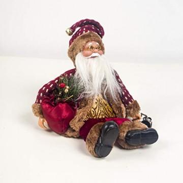 Happyyami Weihnachtsmann-Puppe-Weihnachten Ornament Dekoration Weihnachten Tisch Weihnachtsmann-Figur sitzt (rot) - 4