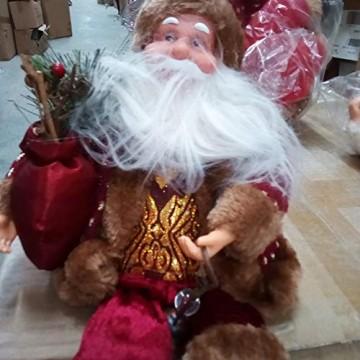 Happyyami Weihnachtsmann-Puppe-Weihnachten Ornament Dekoration Weihnachten Tisch Weihnachtsmann-Figur sitzt (rot) - 6
