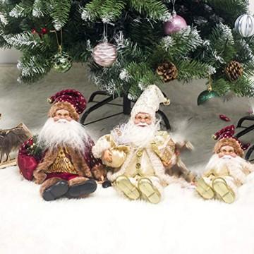 Happyyami Weihnachtsmann-Puppe-Weihnachten Ornament Dekoration Weihnachten Tisch Weihnachtsmann-Figur sitzt (rot) - 7