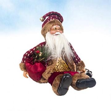 Happyyami Weihnachtsmann-Puppe-Weihnachten Ornament Dekoration Weihnachten Tisch Weihnachtsmann-Figur sitzt (rot) - 9