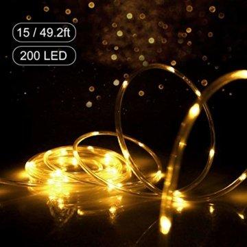 HAUSPROFI 15M 200 LEDS Lichterschlauch mit Fernbedienung,Lichterkette, 8 Modi und Helligkeit dimmbar, Strombetrieben,Wasserdicht, Ideal für Aussen, Weihnachtsbeleuchtung, Deko, Party, Feier, Hochzeit - 3