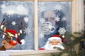 heekpek Netter Weihnachtsmann Weihnachten selbstklebend Fensterdeko Weihnachtsdeko Sterne Weihnachts Rentier Aufkleber Schneeflocken Aufkleber Winter Dekoration Weihnachtsdeko Weihnachten Removable - 3