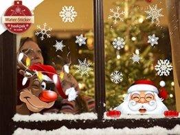 heekpek Netter Weihnachtsmann Weihnachten selbstklebend Fensterdeko Weihnachtsdeko Sterne Weihnachts Rentier Aufkleber Schneeflocken Aufkleber Winter Dekoration Weihnachtsdeko Weihnachten Removable - 1