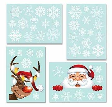 heekpek Netter Weihnachtsmann Weihnachten selbstklebend Fensterdeko Weihnachtsdeko Sterne Weihnachts Rentier Aufkleber Schneeflocken Aufkleber Winter Dekoration Weihnachtsdeko Weihnachten Removable - 5